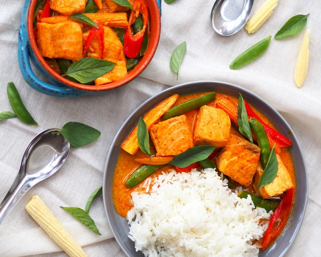 Salmon thai red curry