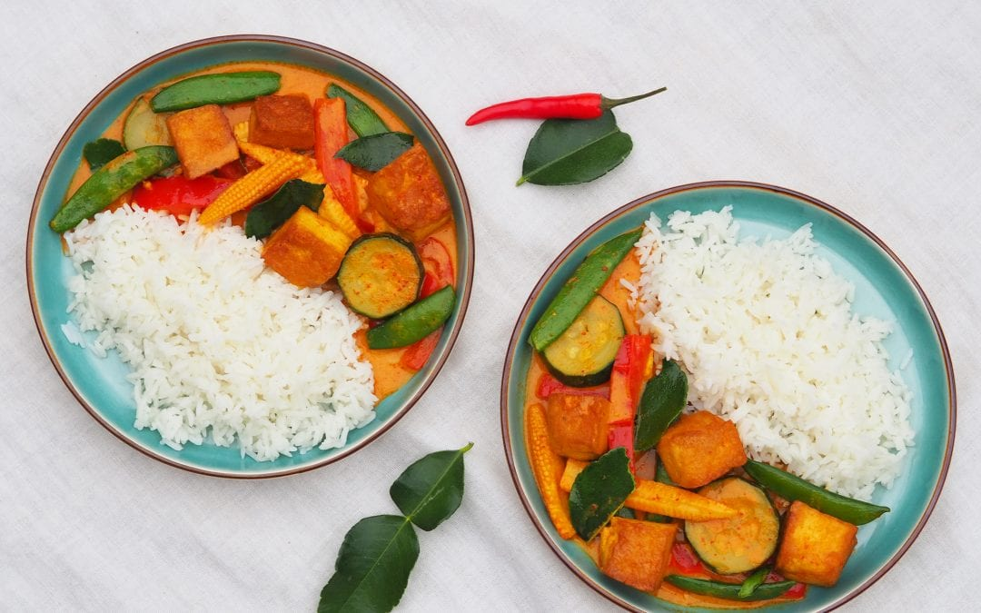Vegan Thai Red Curry with Tofu and Mixed Vegetables
