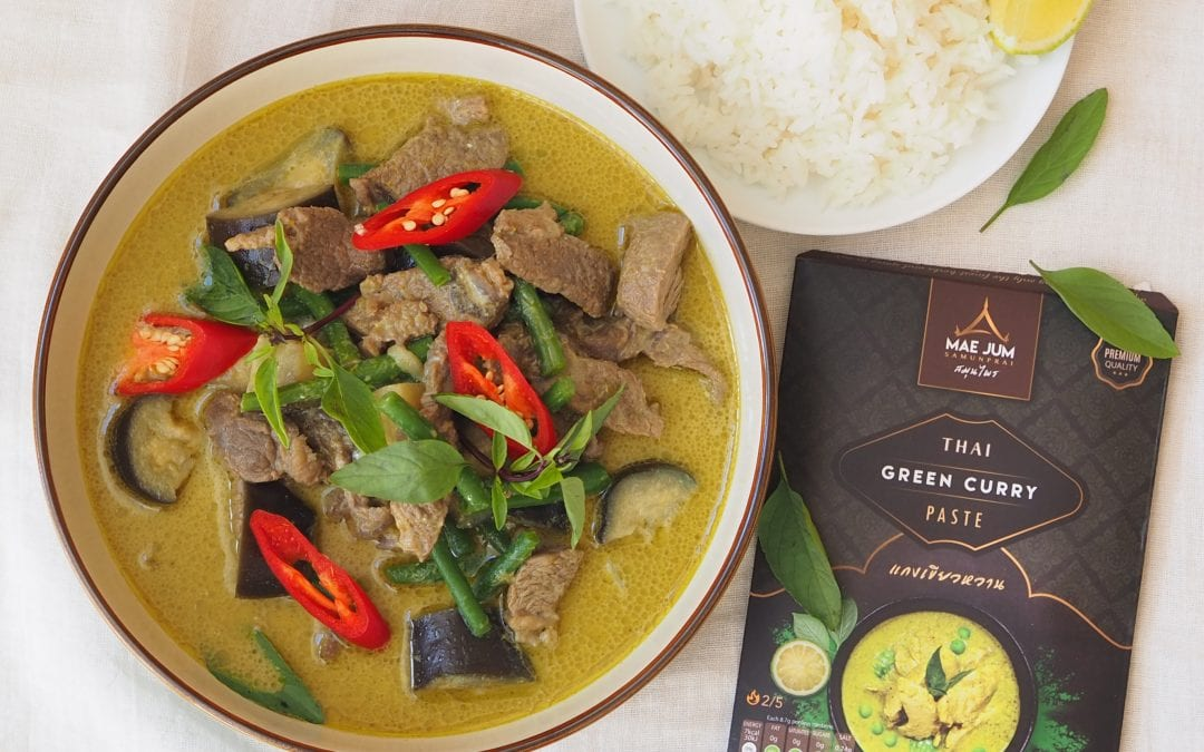 Beef Thai Green Curry with Aubergines and Green Beans
