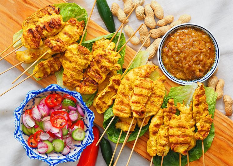 Chicken Satay with Peanut Sauce and Nam Ajad